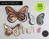3D Butterfly Cutting File Templates, Paper Butterfly SVG, DXF, butterfly wall decor, 3D butterfly nursery decor, Butterfly wall art