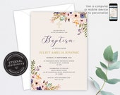 Editable Christening/Baptism Invitation, Baptism, Christening, Editable Template, Printable, Invitation, Baby Girl, Floral, Wreath, Juliet