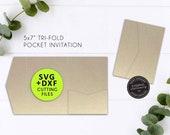 "5x7"" Pocket Wedding Invitation Template, Laser Cut Pocket SVG, DXF, cutting file, tri fold pocket invitation, pocket envelope, Cameo, Cricut"