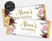 Editable Chocolate Bar Wrapper Template, 1st birthday favours, candy wrapper template, floral chocolate wrapper, roses, Aldi, Hershey, Alina