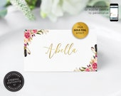 Editable Place Card Template, Gold Foil, Floral Watercolor, Wedding Place Cards, Tent Card, Name Card, Table Card, Place Card, Abella