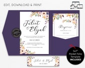 Pocket Wedding Invitation Suite, Floral, Boho, watercolour, Wedding Invitation template Printable, pocketfold, pocket folio, Juliet