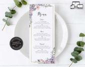 Elegant Floral Menu Template, gold foil border, purple, Editable Menu, Wedding Menu, Birthday, Christening, Baptism, Dinner menu, Karly