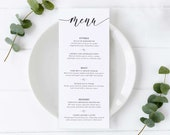 Black and White Calligraphy Menu Template, Editable Menu, modern menu, lettering, Wedding Menu, Birthday, Christening, Baptism, Beverly