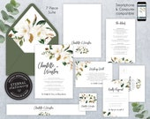 Elegant Magnolia Wedding Invitation Suite, Wedding Invitation template, Editable, botanical, Floral Watercolor invitation, Chantelle