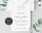 Save the Date Monogram Invitation, Wedding Invitation template, Save the Date Printable, Invitation, Editable, laurel, leaf wreath, Ashley