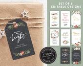 Editable Christmas Gift Tags, Set of 8 Designs, Instant Download, Elegant Christmas Gift Tags, Holiday Tags, Printable Christmas Tags