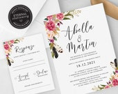 Floral Wedding Invitation, Wedding Invitation template, Wedding Invitation Printable, Invitation, Editable Invitation, watercolor, Abella