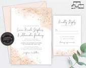 Rose Gold Watercolour Wedding Invitation, Wedding Invitation template, Wedding Invitation Printable, Editable, Blush, watercolor, Liana