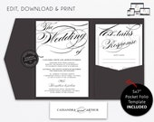 Pocket Wedding Invitation Suite, modern, black and white wedding Invitation template, Printable, pocketfold, pocket folio, Cassandra