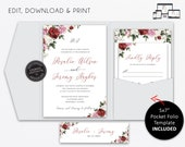 Pocket Wedding Invitation Suite, Floral, watercolour roses, Wedding Invitation template Printable, pocketfold, pocket folio, Rosalie