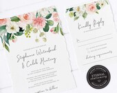 Floral Wedding Invitation, Wedding Invitation template, Wedding Invitation Printable, Editable, Watercolour, pink roses, flowers, Stephanie