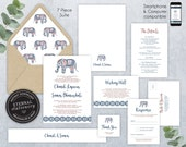 Editable Wedding Invitation Suite, Wedding Invitation template, Printable, Editable Invitation, indian, elephant, paisley, Chandi