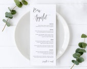 Black and White Modern Menu Template, Editable Menu, bon appetit, Wedding Menu, Birthday, Christening, Baptism, calligraphy, Brigitte