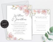 Blush Pink and Grey Wedding Invitation, Wedding Invitation template, Wedding Invitation Printable, Editable, Watercolour, Roses, Willow