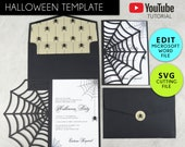 Halloween Party Invitation Template, Cobweb Invitation, Microsoft Word Template with SVG File, Halloween Invitation, Halloween decor