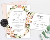 Boho Wedding Invitation Template, Floral Wedding Invitation template, Printable, Editable Invitation, watercolor, boho floral wreath, Ella