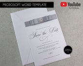 Editable Save the Date Card, Microsoft Word Template, save the date, invitation, wedding, elegant, Printable, save the date, Annette