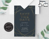 Modern Navy and Gold Save the Date Invitation, Wedding Invitation template, Geometric Save the Date Printable, modern invitation, Julia