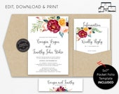 Pocket Wedding Invitation Suite, Floral, Boho, watercolour, Wedding Invitation template Printable, roses, pocketfold, pocket folio, Georgia