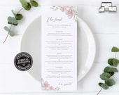 Soft Floral Menu Template, Blush and grey, let's feast, Editable Menu, Wedding Menu, Birthday, Christening, Baptism, Dinner menu, Willow