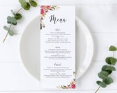 Floral Watercolor Menu Template, Editable Menu, Floral Watercolor, Wedding Menu, Birthday, Christening, Baptism, Dinner, Lunch, Abella
