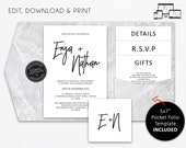 "Marble Pocket Wedding Invitation Suite with 5x7"" Pocket fold template, Wedding Invitation template, Printable, Editable, PDF, Enja"