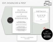 Pocket Wedding Invitation Suite, Modern, Typography, Wedding Invitation template, Printable, Editable, pocketfold, pocket folio, Olivia