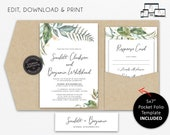 Pocket Wedding Invitation Suite, Greenery, Eucalyptus Wedding Invitation, leaf, pocketfold, pocket folio, watercolour, Scarlett
