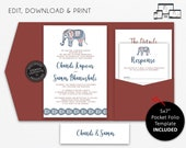 Pocket Wedding Invitation Suite, Indian, Elephant, Wedding Invitation template, Printable, Editable, DIY, pocketfold, pocket folio, Chandi