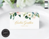 Soft Floral and Eucalyptus Watercolor Place Card Template, botanical, Wedding Place Cards, Name Card, Floral, Flowers, gold foil, Caroline