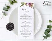Floral Menu Template, Elegant, Boho, Watercolour, Editable Menu, Wedding Menu, Birthday, Christening, Baptism, Dinner menu, Ella