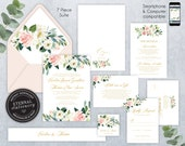 Blush Pink Editable Wedding Invitation Suite, Wedding Invitation template, Invitation Set, Roses, Floral Watercolor, white flower, Caroline