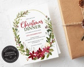 Editable Floral Wreath Christmas Dinner Invitation Template, Christmas Party Invitation Printable, Instant Download, Holiday Invitation, 005