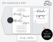 Elegant Pocket Wedding Invitation Suite, Modern Calligraphy Wedding Invitation, Printable, Editable, pocketfold, pocket folio, beverly