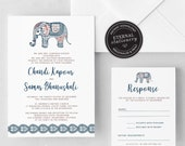 Indian Wedding Invitation, Wedding Invitation template, Wedding Invitation Printable, Invitation, Editable Invitation, DIY, elephant, Chandi