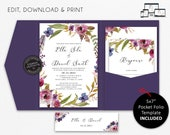 Pocket Wedding Invitation Suite, Floral, Boho, watercolour, Wedding Invitation template Printable, Editable, pocketfold, pocket folio, Ella