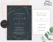 Gold Foil Geometric Wedding Invitation, Wedding Invitation template, Wedding Invitation Printable, Editable, Navy, modern, geometric, Julia