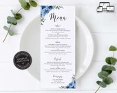 Elegant Blue Flower Menu Template, navy menu, Editable Menu, Wedding Menu, Birthday, Christening, Baptism, Dinner menu, Lauren