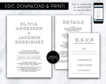 Editable Printable DIY Stationery Templates by