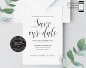 Modern Calligraphy Save the Date Invitation, Wedding Invitation template, Save the Date Printable, Invitation, Editable Invitation, Brigitte