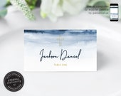Navy Calligraphy Place Card Template, Wedding Place Cards, Christening, Baptism Place Card, Watercolor, Name Card, Table Card, Jackson