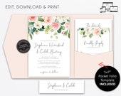 Pocket Wedding Invitation Suite, Floral, roses, watercolour, Wedding Invitation template, pocketfold, pocket folio, flowers, Stephanie