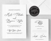 Elegant Calligraphy Wedding Invitation Template, Wedding Invitation template, Editable, Modern Wedding Invitation Printable, Marita