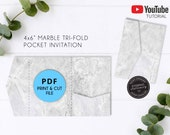 4x6 Marble Pocket Wedding Invitation Template PDF, printable, pocket invitations, pocket envelope, trifold envelope, Pocket Folio Invitation