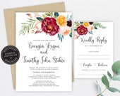 Floral Bloom Wedding Invitation, Wedding Invitation template, Wedding Invitation Printable, Editable Invitation, Watercolour, Roses, Georgia