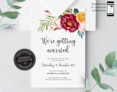 Floral Rose Save the Date Card, Wedding Invitation template, Printable, Editable, Floral Watercolor, save our date, greenery, Georgia