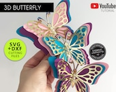 3D Butterfly Cutting File Template, Paper Butterfly SVG, DXF, butterfly wall decor, 3D butterfly nursery decor, butterfly, party decor