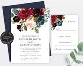 Floral Wedding Invitation, Wedding Invitation template, Wedding Invitation Printable, Editable, Navy and burgundy watercolor, Elizabeth
