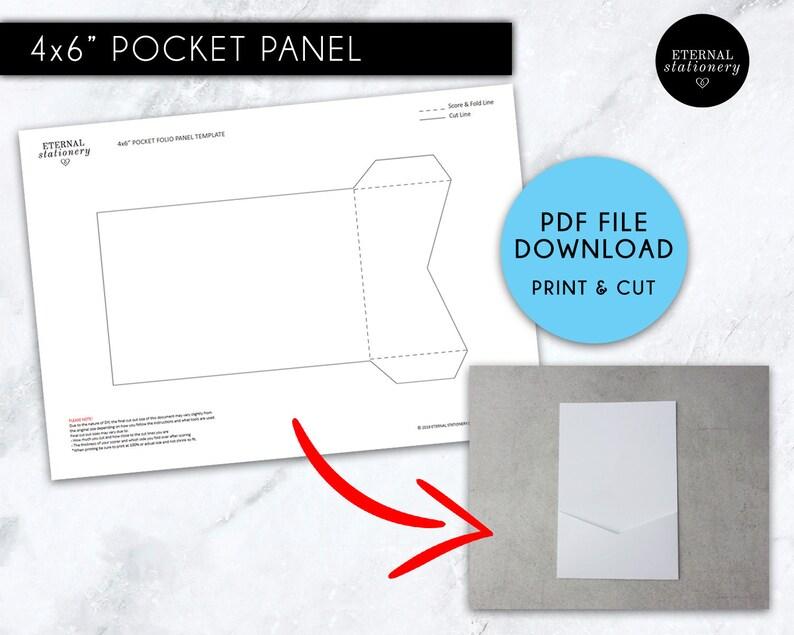 4x6 Pocket Wedding Invitation Template PDF, Pocket Panel Invitation,  printable, pocket invitations, pocket envelope, pocket fold, DIY
